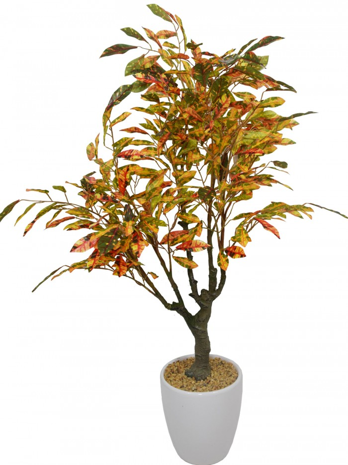 Buy Fourwalls Premium Range Artificial Red Croton Plant With Stylish Ceramic Vase (Green/Red, 70 Cm