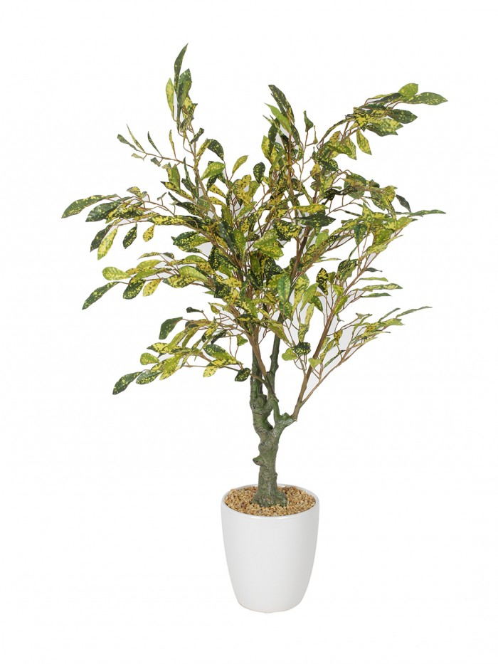 Buy Fourwalls Premium Range Artificial Croton Plant With Stylish Ceramic Vase (Green/Yellow, 70 Cm T