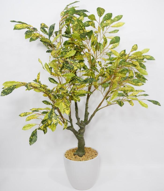 Buy  Fourwalls Premium Range Artificial Croton Plant With Stylish Ceramic Vase (Green/Yellow, 70 Cm