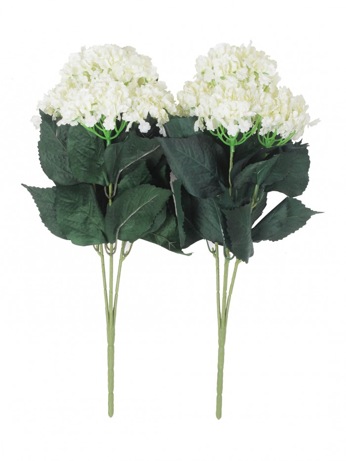 Buy Fourwalls Artificial Hydrangea Bouquet For Home, Events And Wedding Decor (48 Cm, White, Set Of
