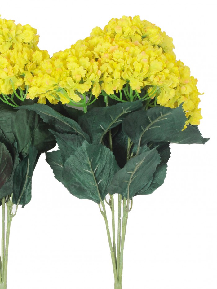 Buy Fourwalls Artificial Hydrangea Bouquet For Home, Events And Wedding Decor (48 Cm, Yellow, Set Of