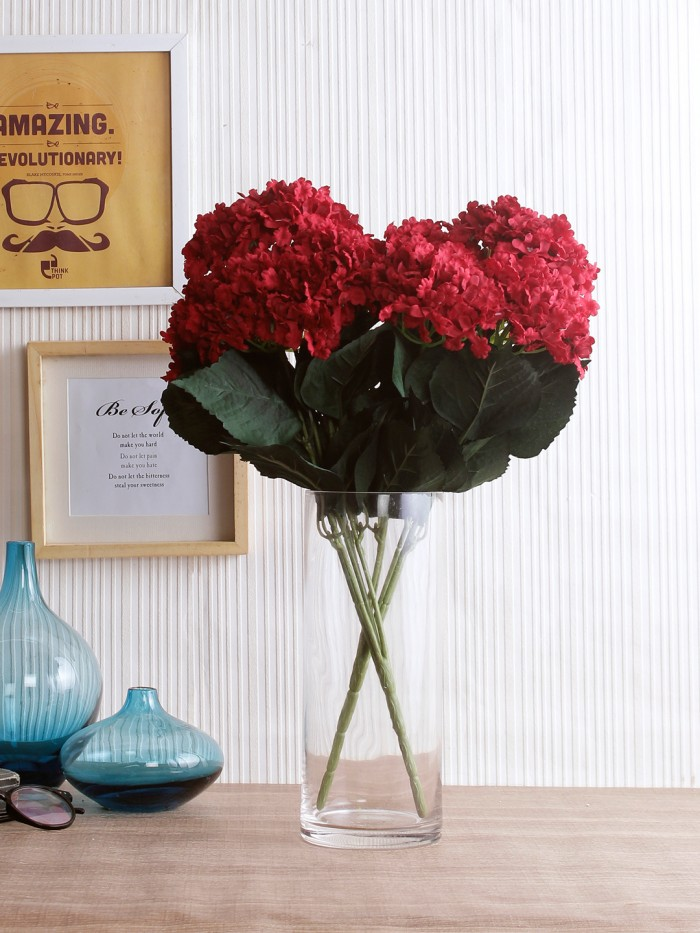 Buy FourwallsArtificial Hydrangea Bouquet For Home, Events And Wedding Decor (48 Cm, Red, Set Of 2)
