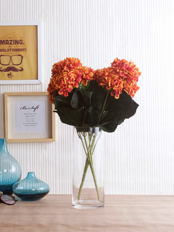 Buy FourwallsArtificial Hydrangea Bouquet For Home, Events And Wedding Decor (48 Cm, Orange, Set Of