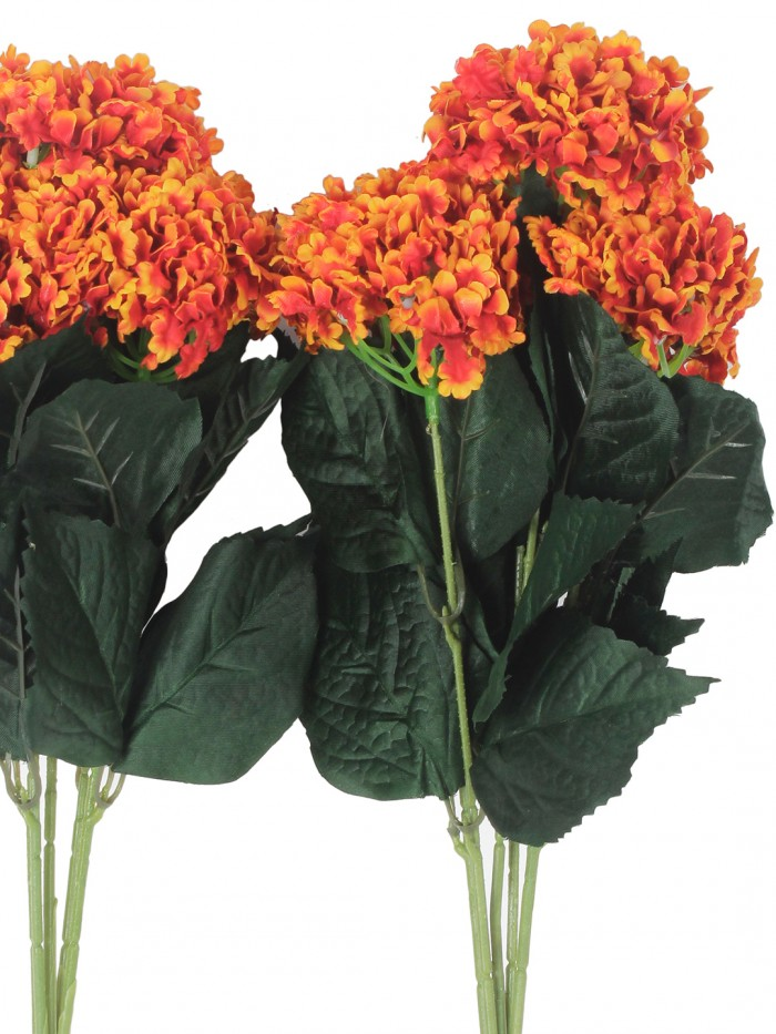 Buy Fourwalls Artificial Hydrangea Bouquet For Home, Events And Wedding Decor (48 Cm, Orange, Set Of