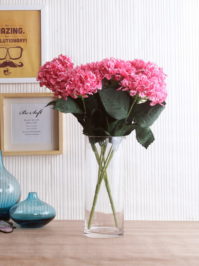 Buy FourwallsArtificial Hydrangea Bouquet For Home, Events And Wedding Decor (48 Cm, Pink, Set Of 2