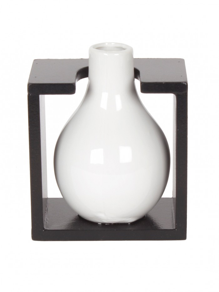 Buy Fourwalls Ceremic Flower Vase In Wooden Frame (14 Cm X 9.1 Cm X 13.2 Cm, White) Online