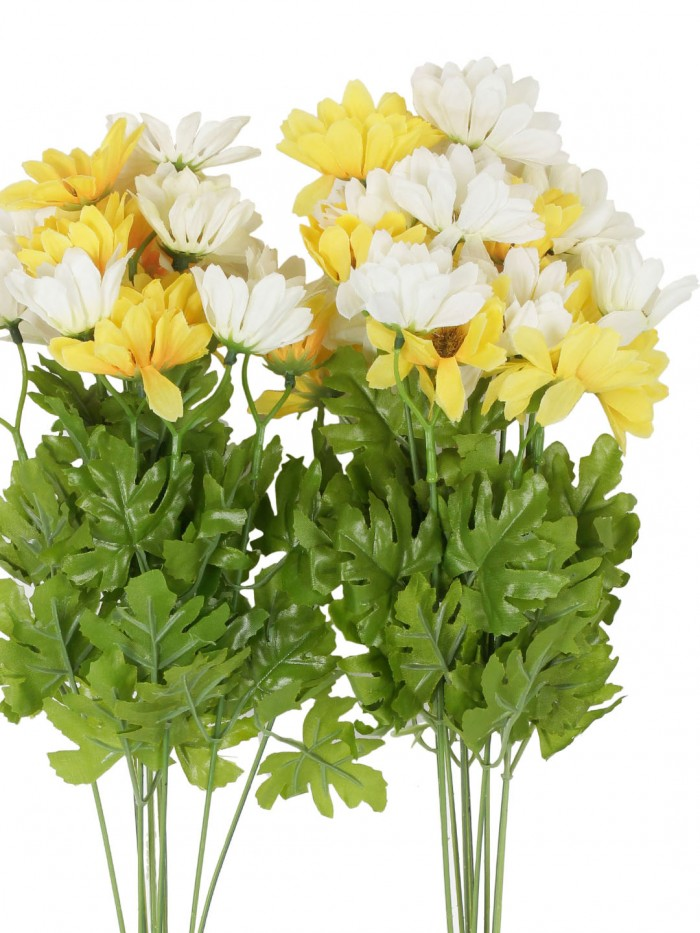 Buy Fourwalls Artificial Daisy Bunches (48 Cm Tall, 10 Branches, White/Yellow, Set Of 2) Online