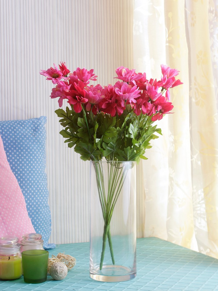 Buy Artificial Daisy Bunches (48 Cm Tall, 10 Branches, Pink/Red, Set Of 2) Online