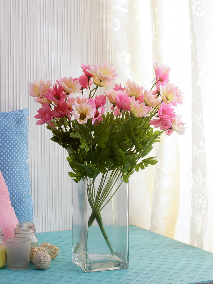 Buy Artificial Daisy Bunches (48 Cm Tall, 10 Branches, Light Pink/Dark Pink, Set Of 2) Online