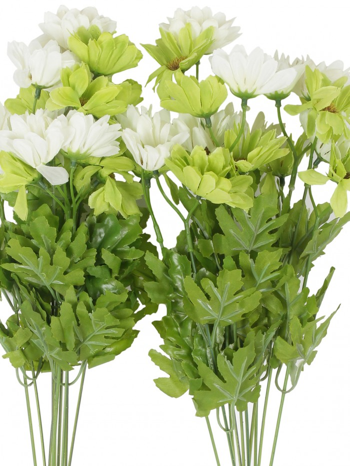 Buy Artificial Daisy Bunches (48 Cm Tall, 10 Branches, Green/White, Set Of 2) Online