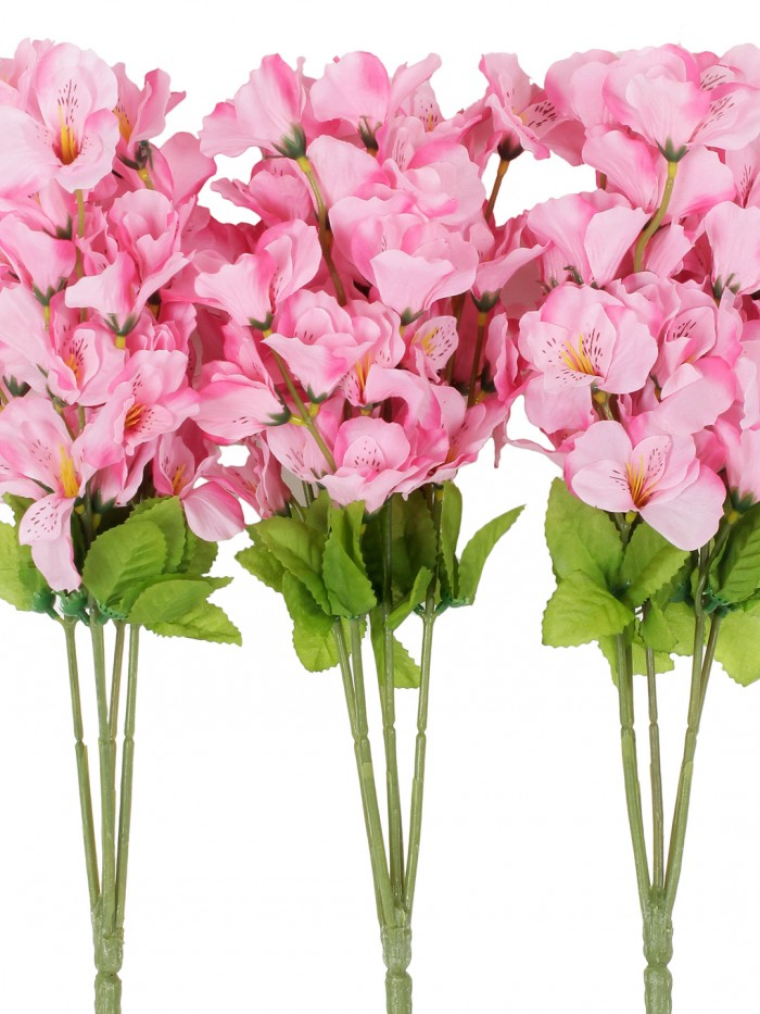 Buy Artificial Gardenia Flower Bunches For Home Decor (5 Branch, 42 Cm, Light Pink, Set Of 3) Online