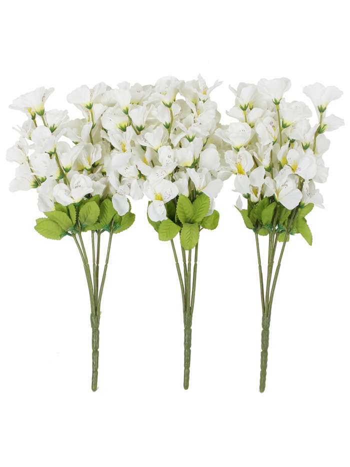 Buy Artificial Gardenia Flower Bunches For Home And Office Decor (5 Branches, 42 Cm, White, Set Of 3