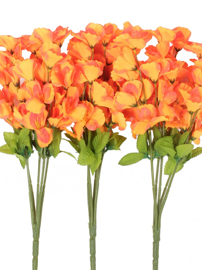 Buy Artificial Gardenia Flower Bunches For Home And Office Decor (5 Branches, 42 Cm, Orange, Set Of