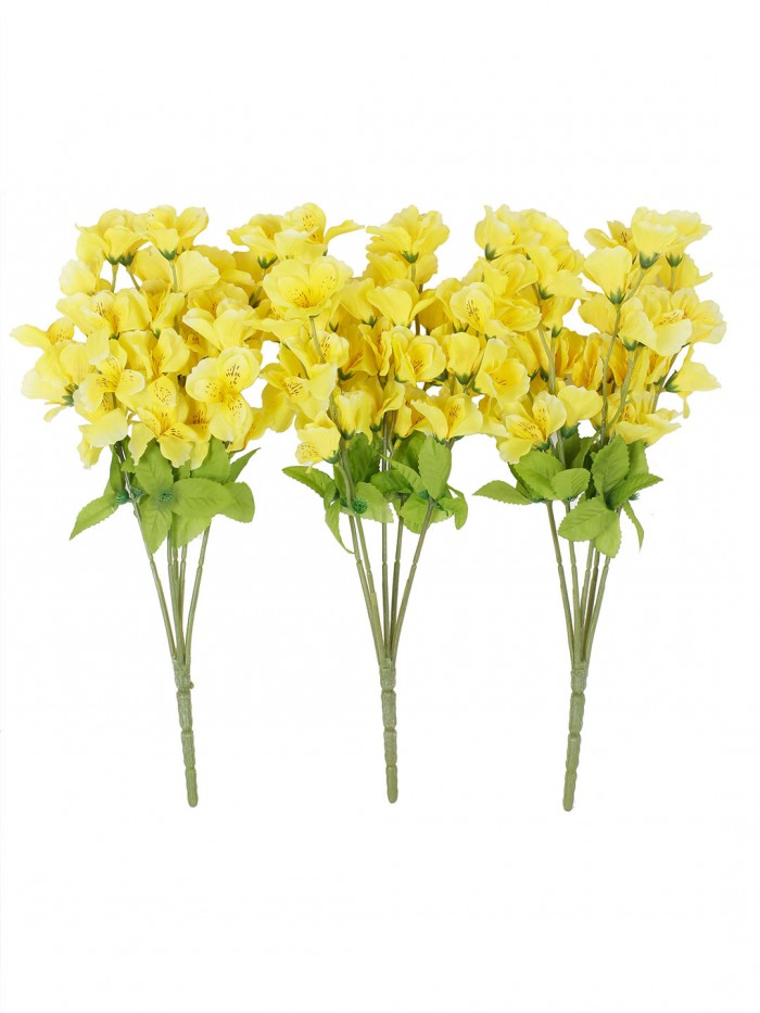 Buy Artificial Gardenia Flower Bunches For Home And Office Decor (5 Branches, 42 Cm, Yellow, Set Of