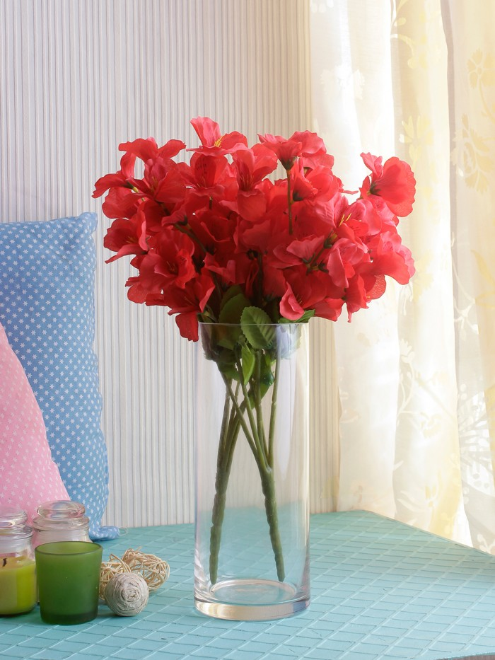 Buy Artificial Gardenia Flower Bunches For Home And Office Decor (5 Branches, 42 Cm, Red, Set Of 3)