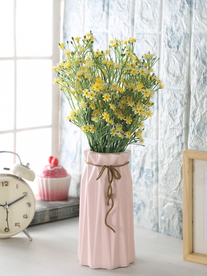 Buy FourwallsDecorative Artificial Gypsophila Flower Bunches (35 Cm Tall, Yellow, Set Of 4) Online