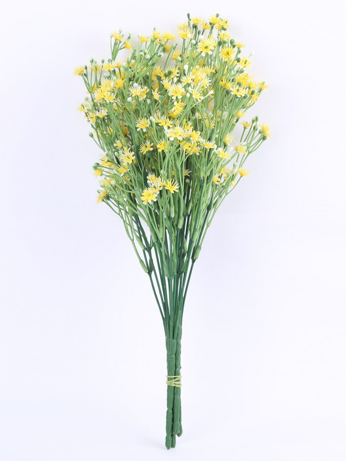 Buy Fourwalls Decorative Artificial Gypsophila Flower Bunches (35 Cm Tall, Yellow, Set Of 4) Online