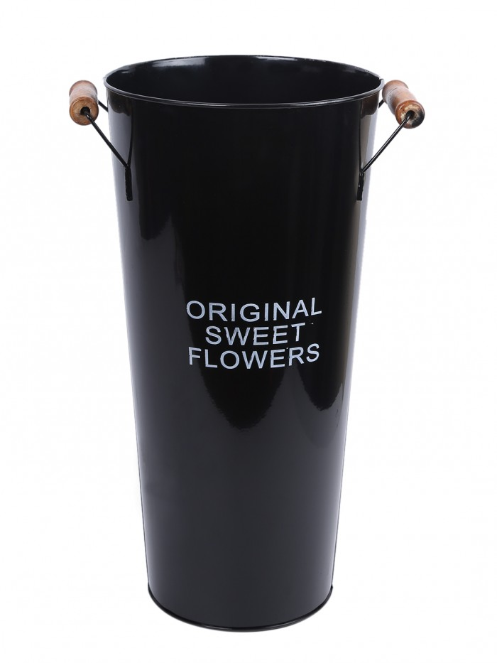 Buy Rustic Metal Tin Flower Vases, French Bucket Style (40 Cm Tall, Black) Online