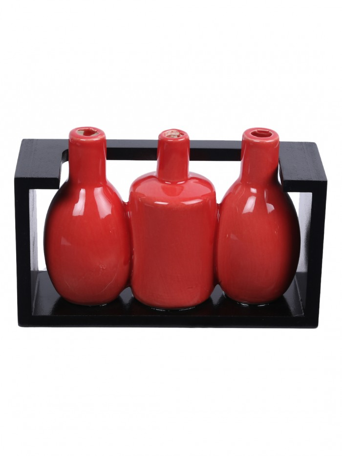 Buy Glazed Ceramic Vase In A Wooden Frame For Table D�cor (13 Cm Tall, Red) Online
