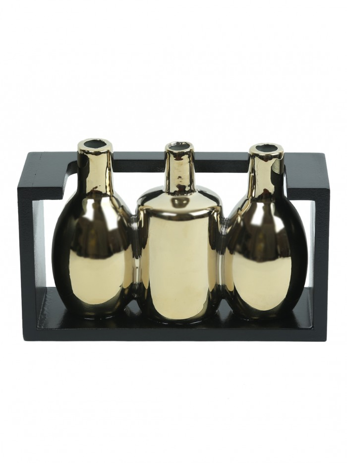 Buy Glazed Ceramic Vase In A Wooden Frame For Table Dcor (13 Cm Tall, Gold) Online
