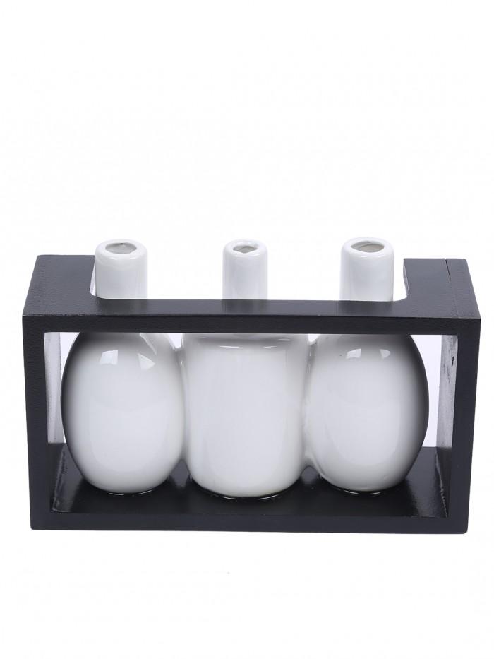 Buy Glazed Ceramic Vase In A Wooden Frame For Table Dcor (13 Cm Tall, White) Online