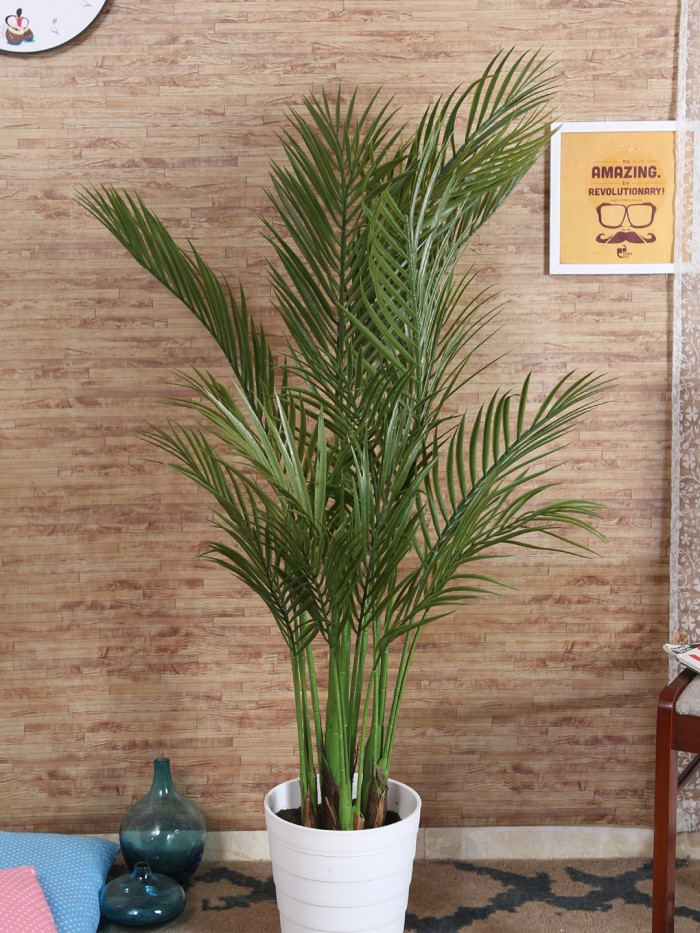 Buy Decorative Artificial Areca Floor Plant WithOUT Pot (130 Cm Tall, 4 Branches, Green) Online