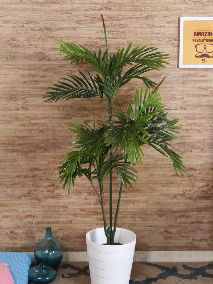 Buy Decorative Artificial Areca Floor Plant With Pot (115 Cm Tall, Green) Online
