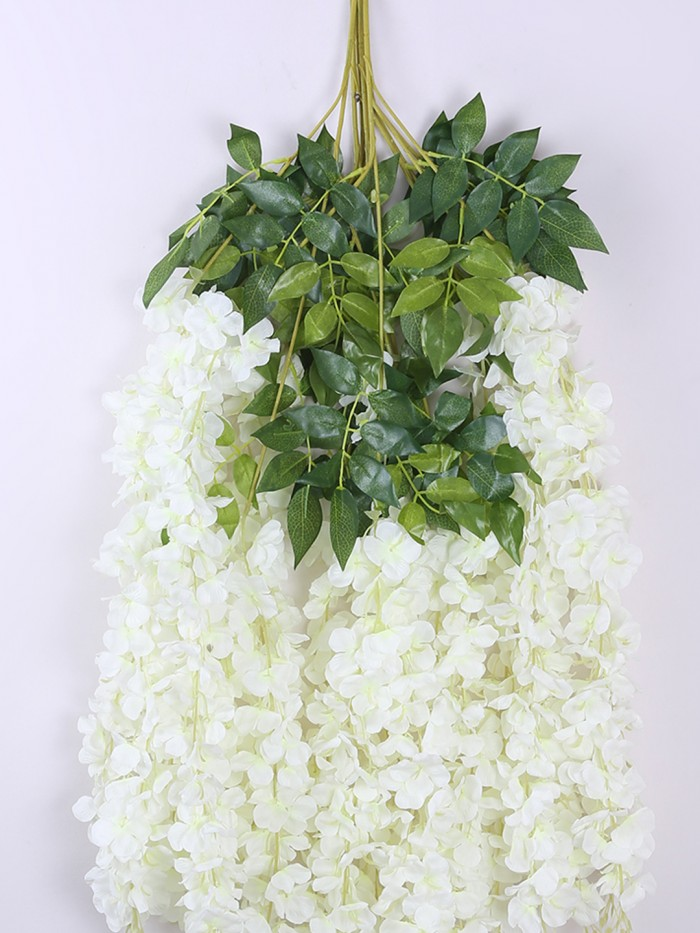 Buy Artificial Polyester And Plastic Hanging Flower Vine (110 Cm Tall, White, Set Of 6) Online