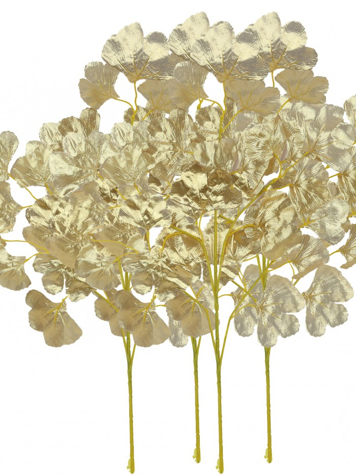Buy Artificial Polyester And Plastic Maple Stem (60 Cm, Gold, Set Of 8) Online