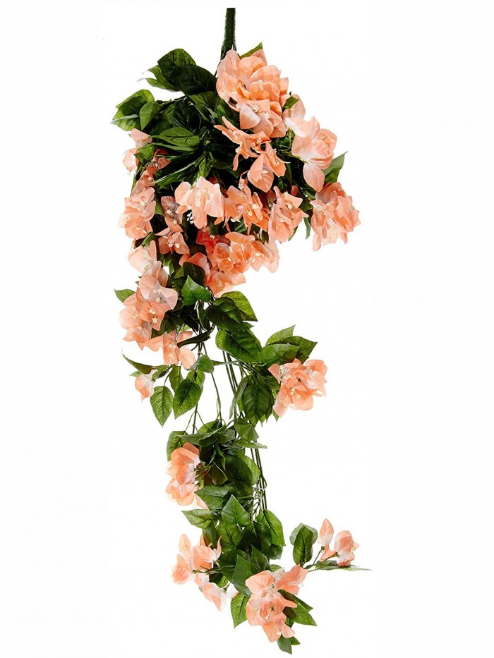Buy Artificial Bougainvillea Bush For Wedding Or Home Decoration - Peach, 42 Inches/105 Cm Tall  Onl