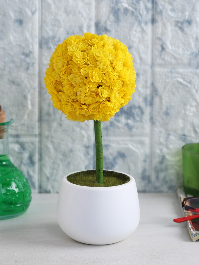 Buy Polyurethane Real Touch Flowers In A Melamine Pot (25 Cm, Yellow) Online
