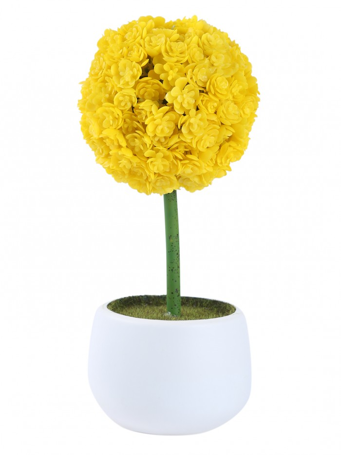 Buy Fourwalls Polyurethane Real Touch Flowers In A Melamine Pot (25 Cm, Yellow) Online