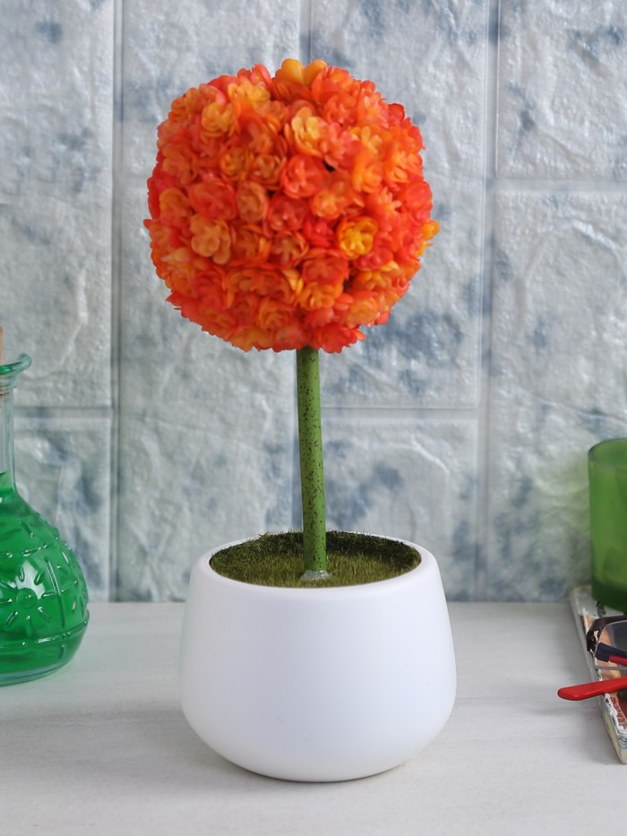 Buy Polyurethane Real Touch Flowers In A Melamine Pot (25 Cm, Orange) Online