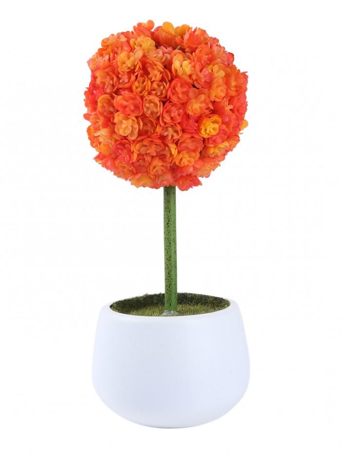 Buy Fourwalls Polyurethane Real Touch Flowers In A Melamine Pot (25 Cm, Orange) Online