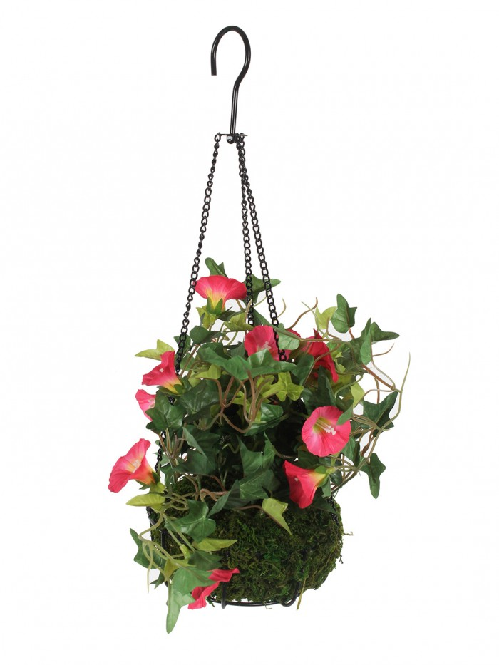 Buy Fourwalls Decorative Polyester Artificial Morning Glory Plant With Hanging Basket (40 Cm, Dark P