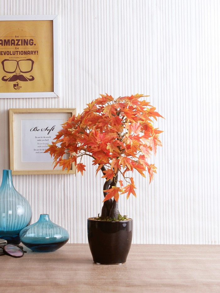 Buy Orange Polyester Artificial Japanese Maple Plant By Fourwalls (39 Cm) Online