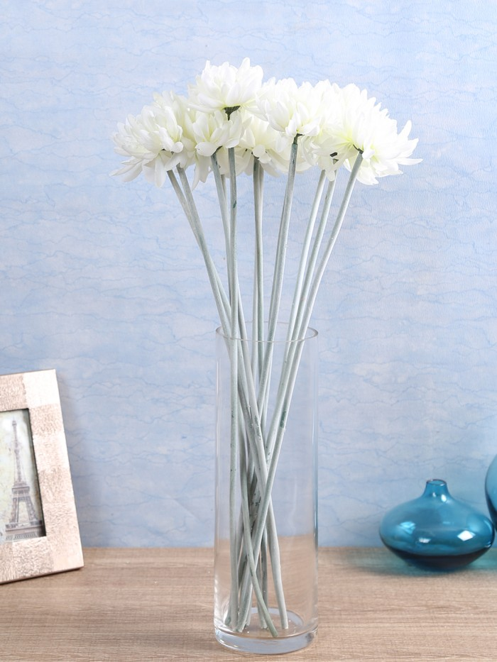 Buy Artificial Chrysanthemum Stems (Set Of 8, White) Online