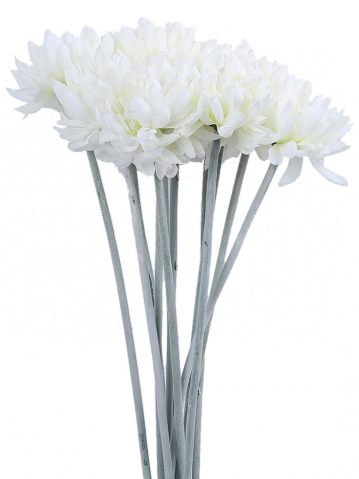 Buy Fourwalls Synthetic Cloth Artificial Chrysanthemum Stem (40 Cm, White, Set Of 8) Online