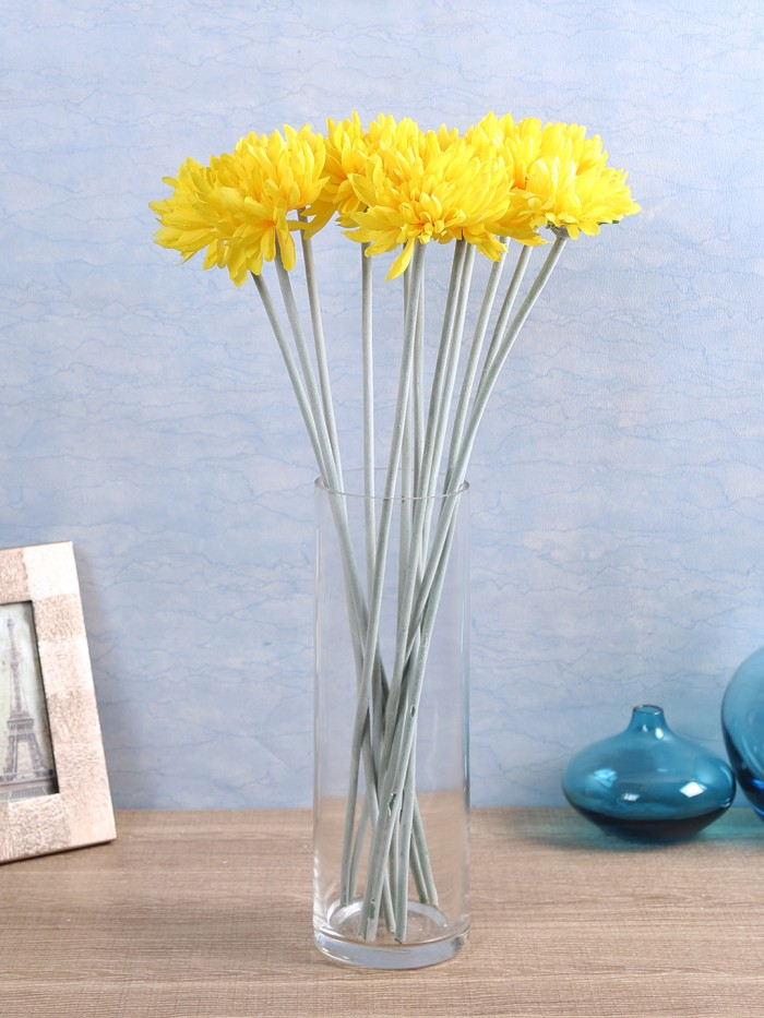 Buy Artificial Chrysanthemum Stems (Set Of 8, Yellow) Online