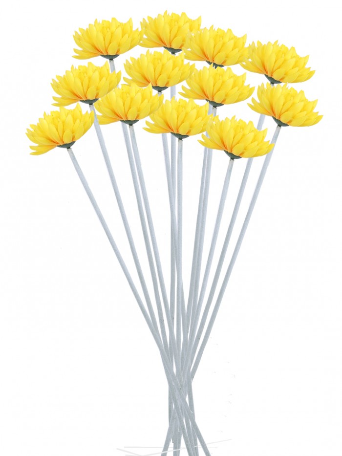 Buy Fourwalls Synthetic Cloth Artificial Chrysanthemum Stem (40 Cm, Yellow, Set Of 8) Online