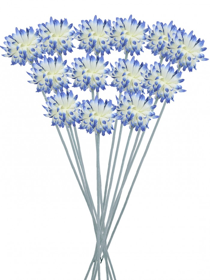 Buy Fourwalls Synthetic Cloth Artificial Chrysanthemum Stem (40 Cm, Blue, Set Of 8) Online