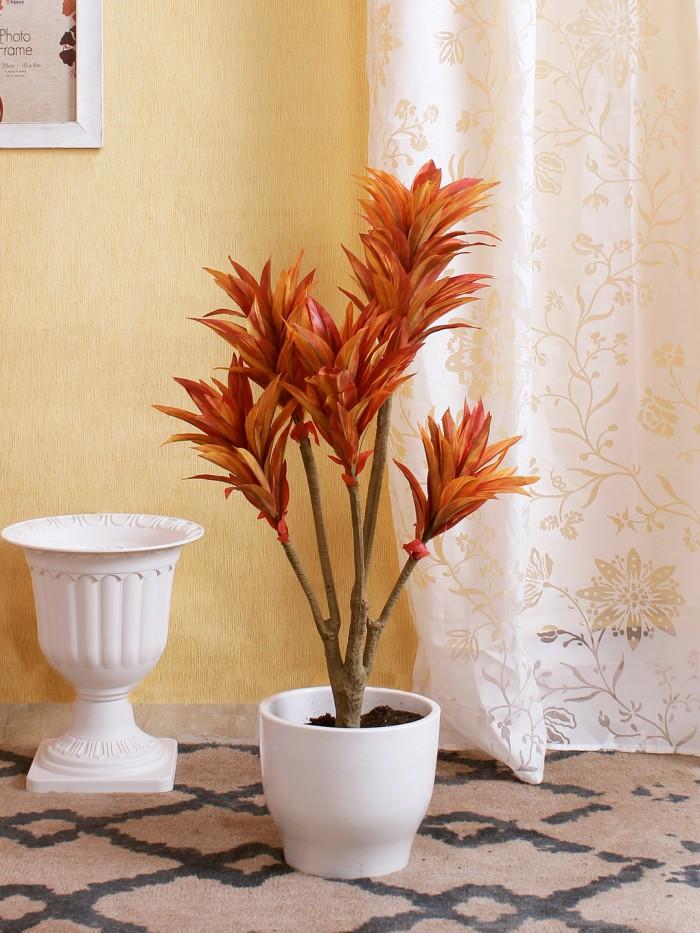 Buy 86cm Tall Decorative Artificial Dracaena Plant Without Pot (171 Leaves, Orange) Online
