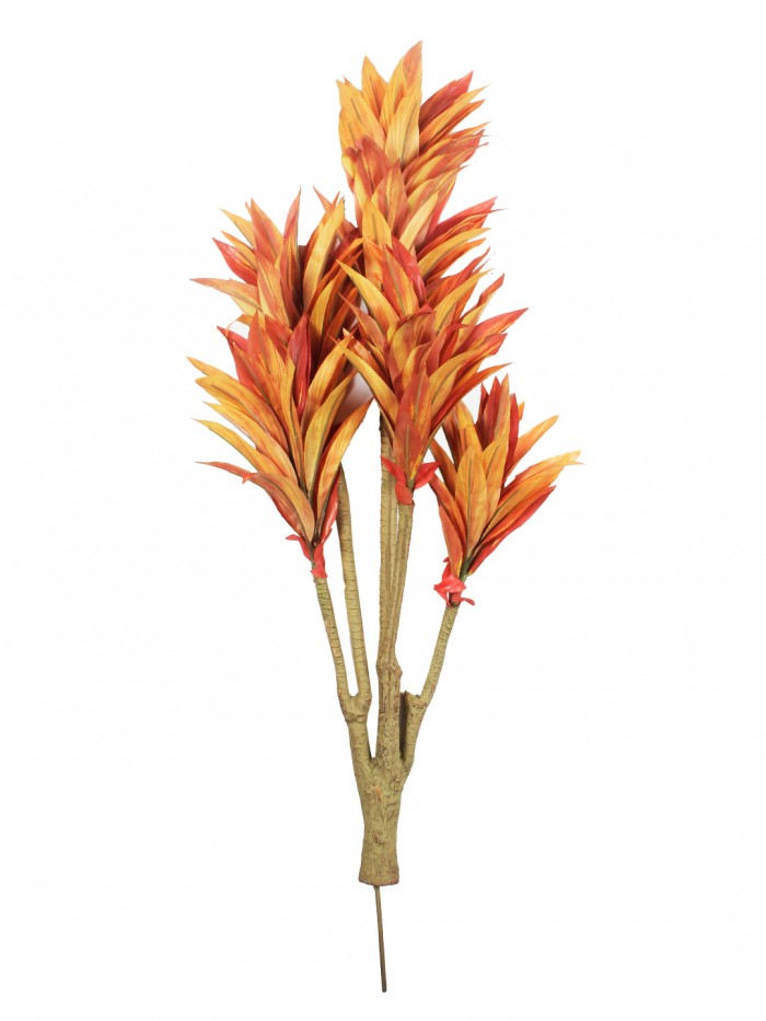 Buy Fourwalls 86cm Tall Decorative Artificial Dracaena Plant Without Pot (171 Leaves, Orange) Online