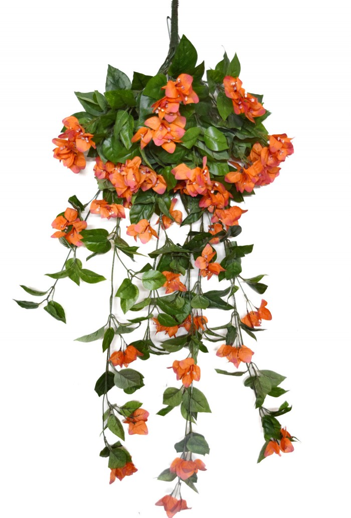 Buy Artificial Bougainvillea Bush For Wedding Or Home Decoration - Orange, 42 Inches/105 Cm Tall  On