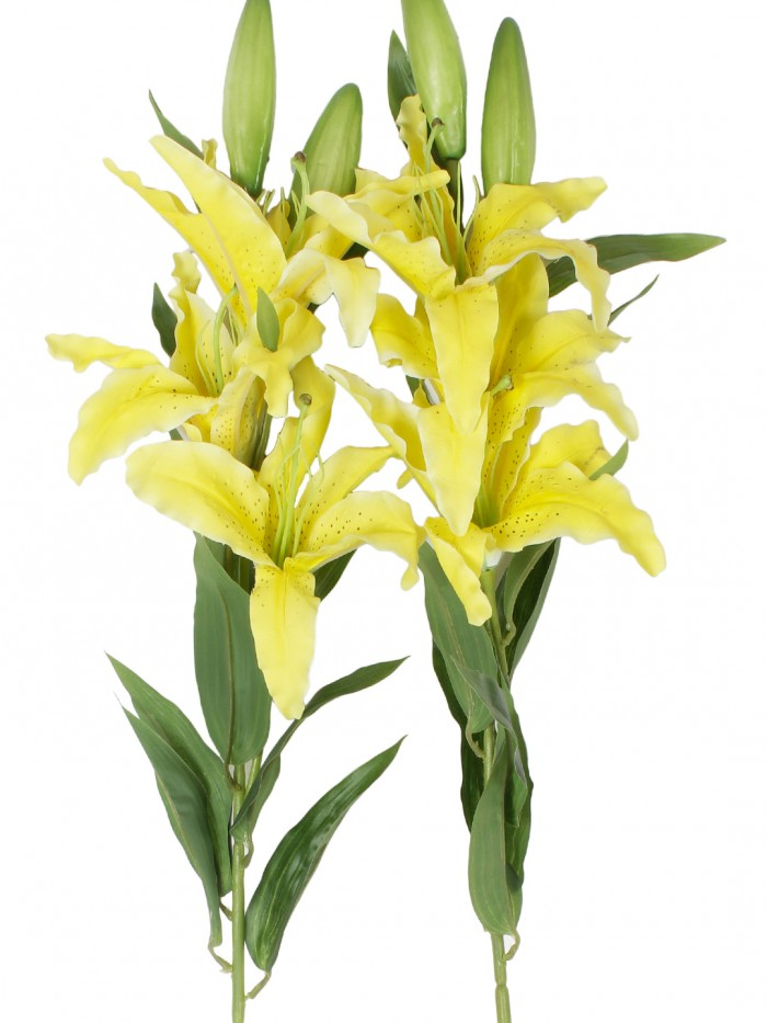 Buy Fourwalls Elegant Artificial Lily (3 Heads, Yellow) Online