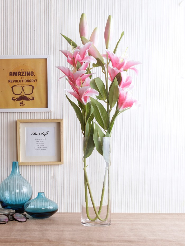Buy Fourwalls Elegant Artificial Lily (3 Heads, Dark Pink) Online