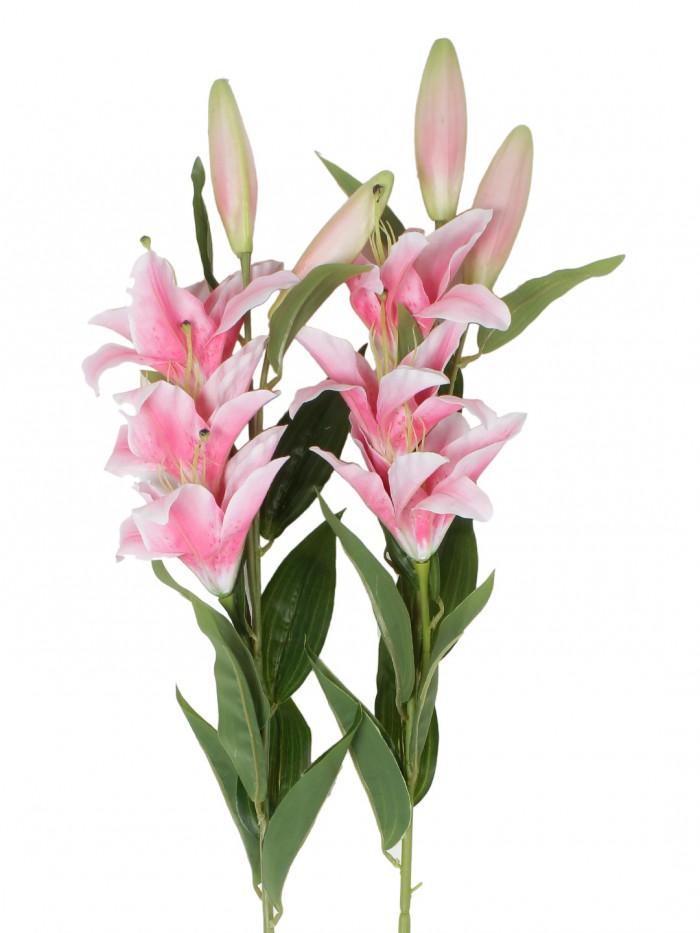 Buy Fourwalls Elegant Artificial Lily (3 Heads, Dark Pink) Online