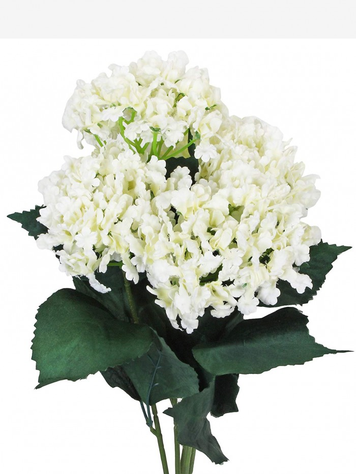 Buy FourwallsArtificial Hydrangea Bouquet For Home, Events And Wedding Decor (48 Cm, White) Online