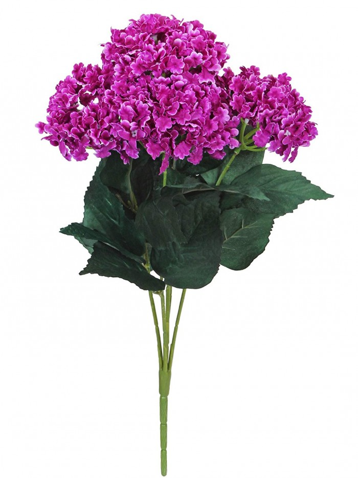 Buy Fourwalls Artificial Hydrangea Bouquet For Home, Events And Wedding Decor (48 Cm, Purple) Online