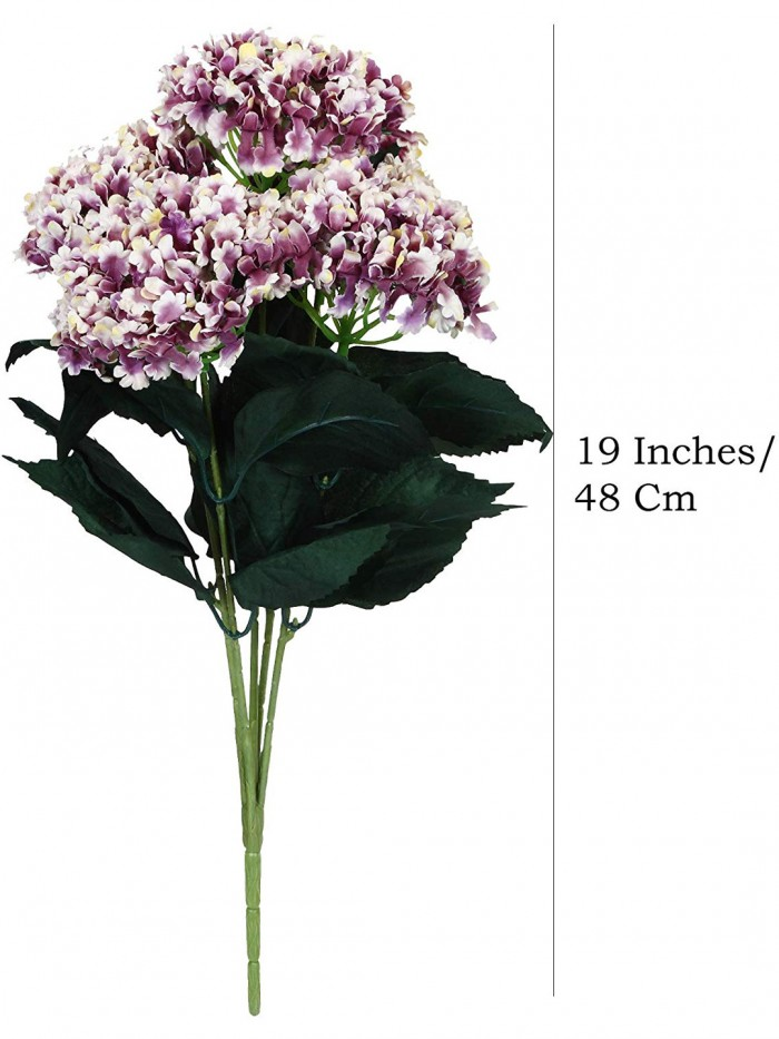 Buy Fourwalls Artificial Hydrangea Bouquet For Home, Events And Wedding Decor (48 Cm, Light/Purple)